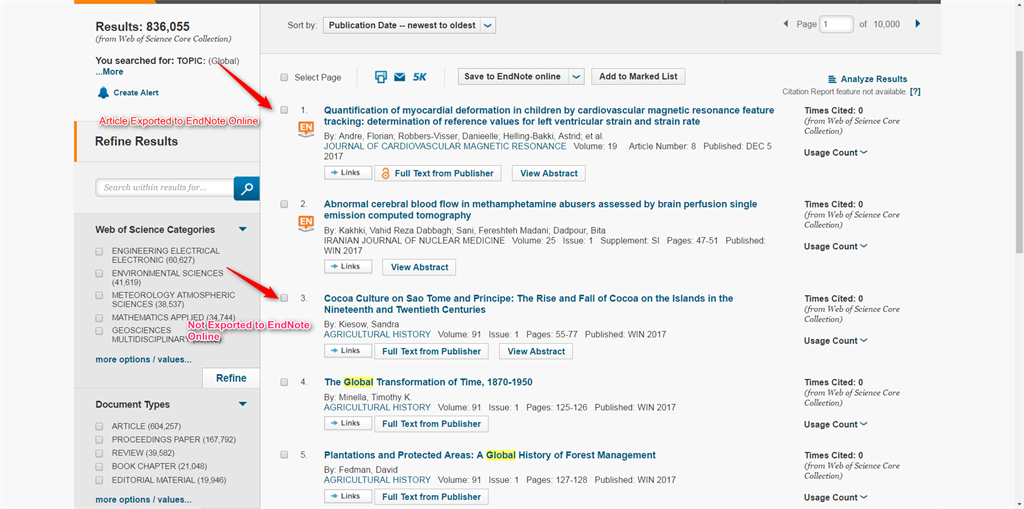 EndNote online: Icon visibility in Web of Science