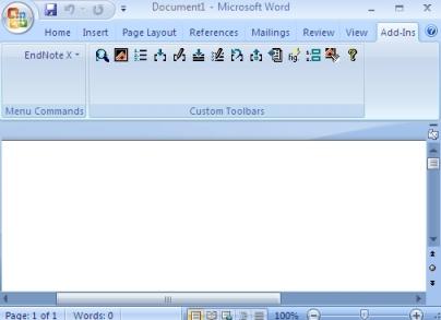 EndNote 5/6/7/8/9/X Windows: Install Word 2007 CWYW Toolbar