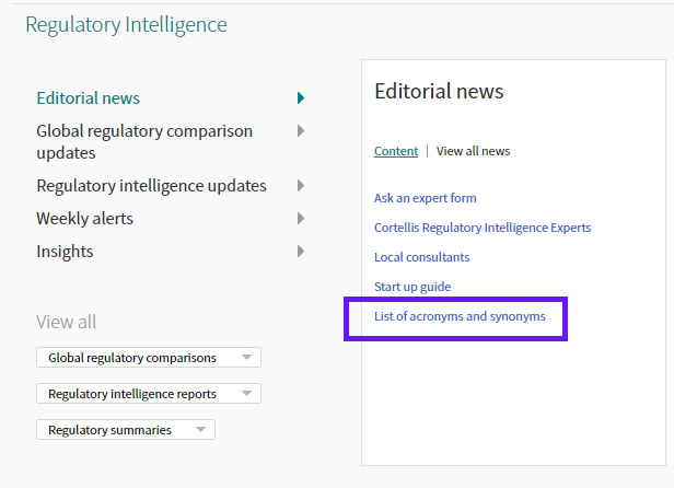 Cortellis Regulatory Intelligence: Where to find Acronyms
