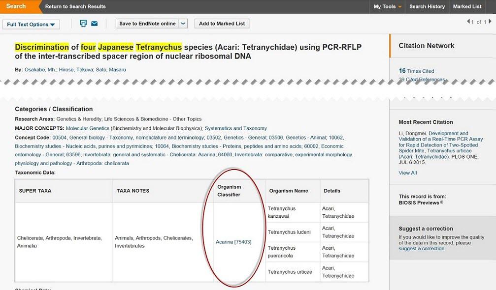 BIOSIS Biosystematic Codes